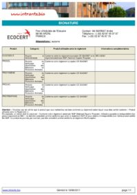 Intrants Ecocert