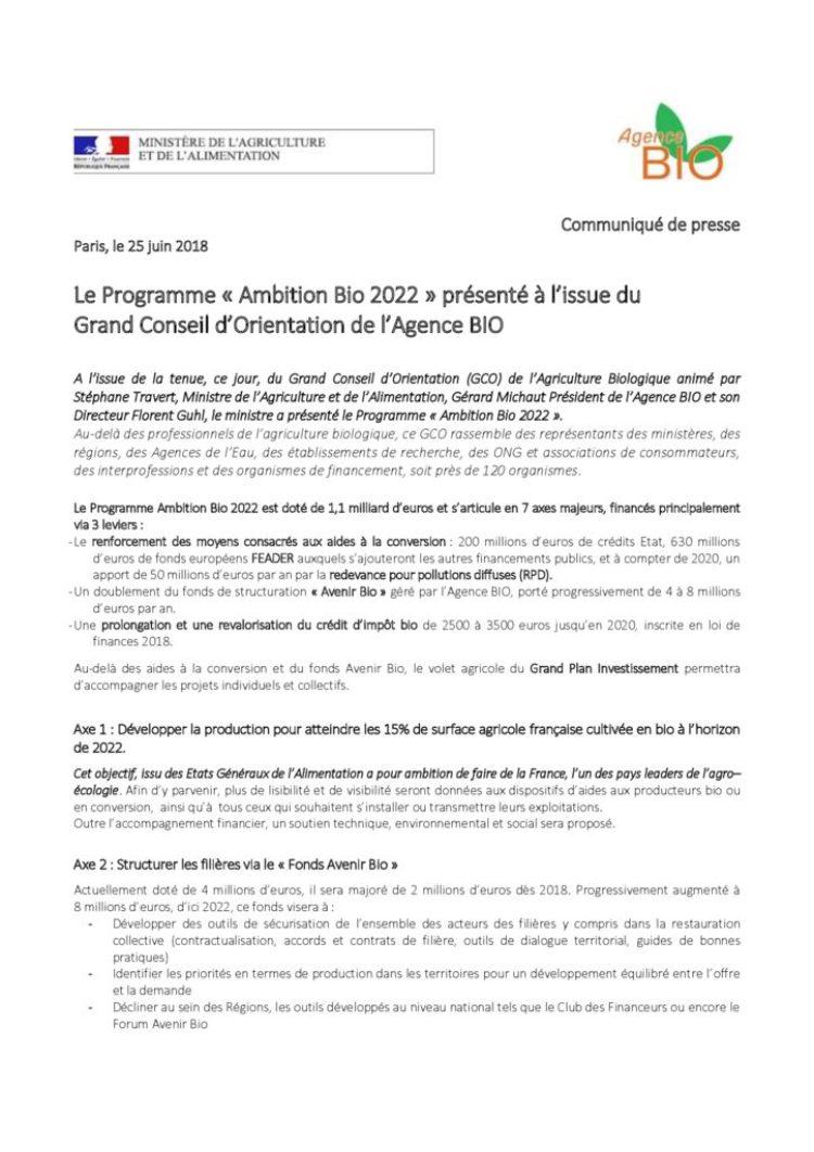 « Ambition Bio 2022 » présenté à l'issue du Grand Conseil d'Orientation de l'Agence BIO
